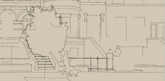 line drawing side street